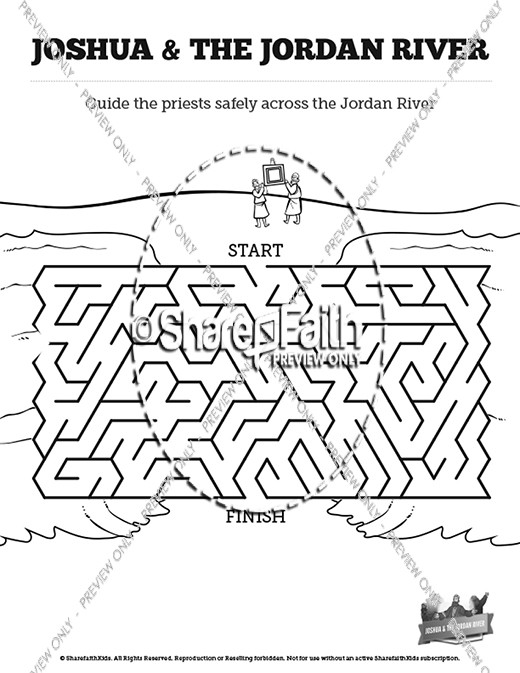 Joshua 3 Crossing the Jordan River River Bible Mazes