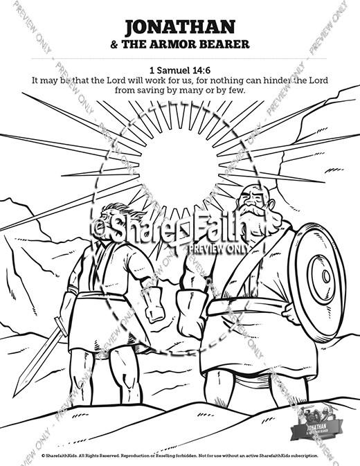 Jonathan And His Armor Bearer Sunday School Coloring Pages