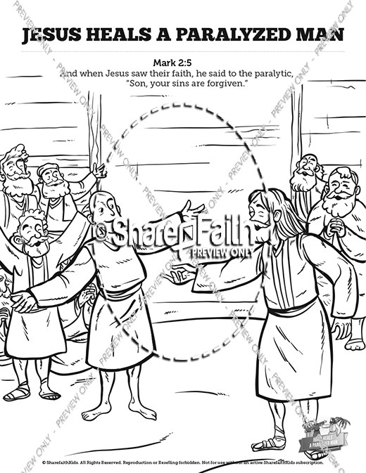 Luke 5 Jesus Heals The Paralytic Sunday School Coloring
