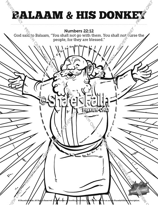 Numbers 22 Balaam's Donkey Sunday School Coloring Pages