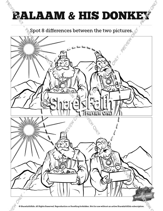 Numbers 22 Balaam's Donkey Kids Spot The Difference