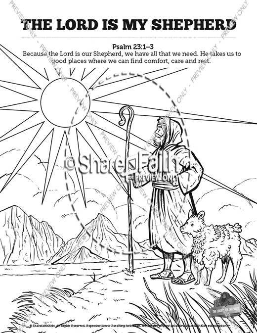 Psalm 23 The Lord Is My Shepherd Sunday School Coloring