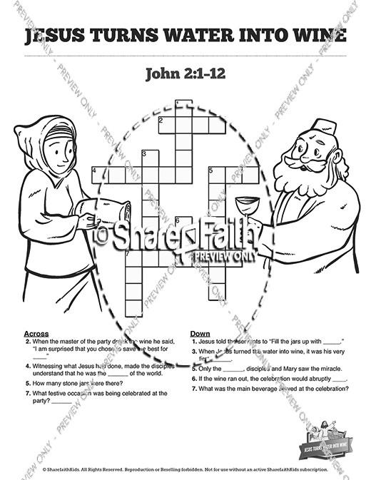 Jesus Turns Water Into Wine Sunday School Crossword