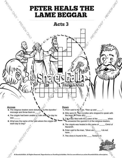 Acts 3 Peter Heals the Lame Man Sunday School Crossword
