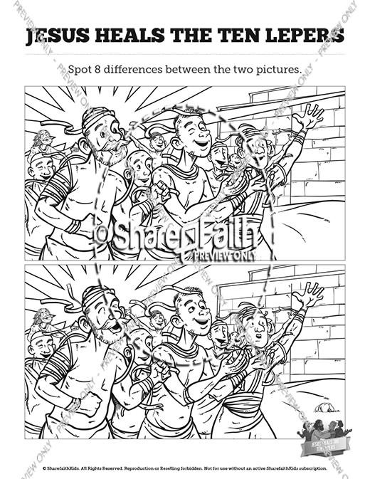 Luke 17 Ten lepers Kids Spot The Difference