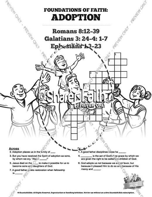 Romans 8 Adoption Sunday School Crossword Puzzles