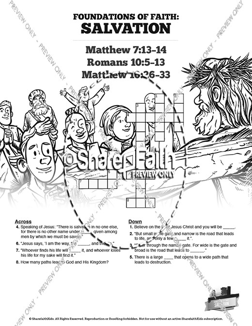 Matthew 7 Plan of Salvation Sunday School Crossword