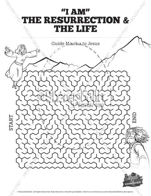 John 11 I am the Resurrection and the Life Bible Mazes