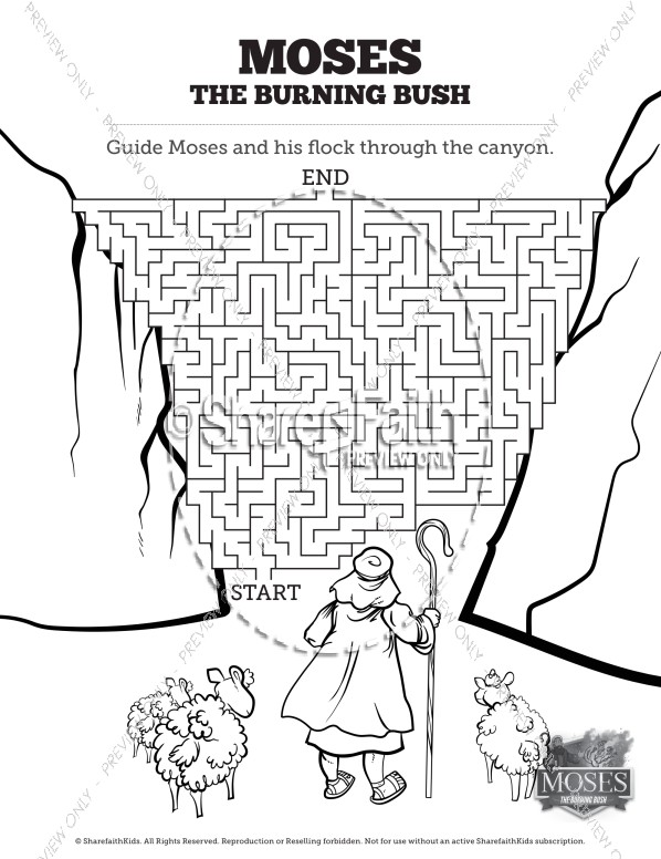 moses and burning bush activity sheet