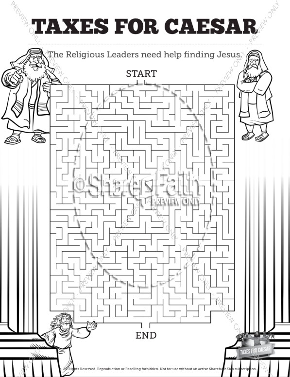 Luke 20 Taxes For Caesar Bible Mazes