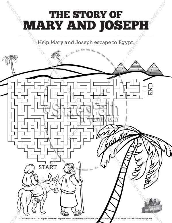 Luke 2 Mary and Joseph Christmas Story Bible Mazes