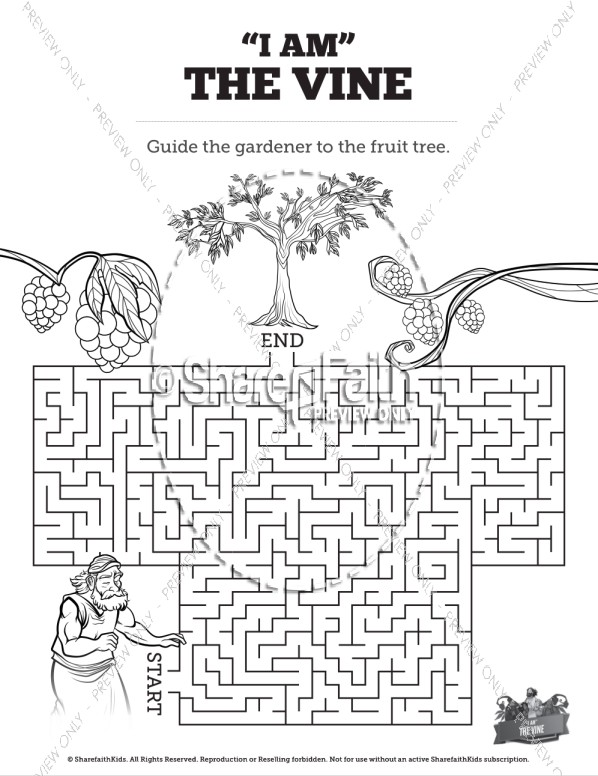 John 15 I Am The Vine Bible Mazes