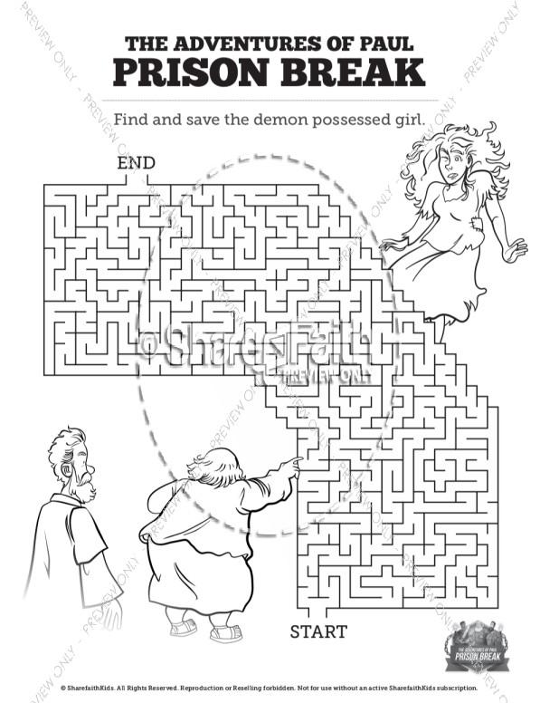 Acts 16 Prison Break Bible Mazes
