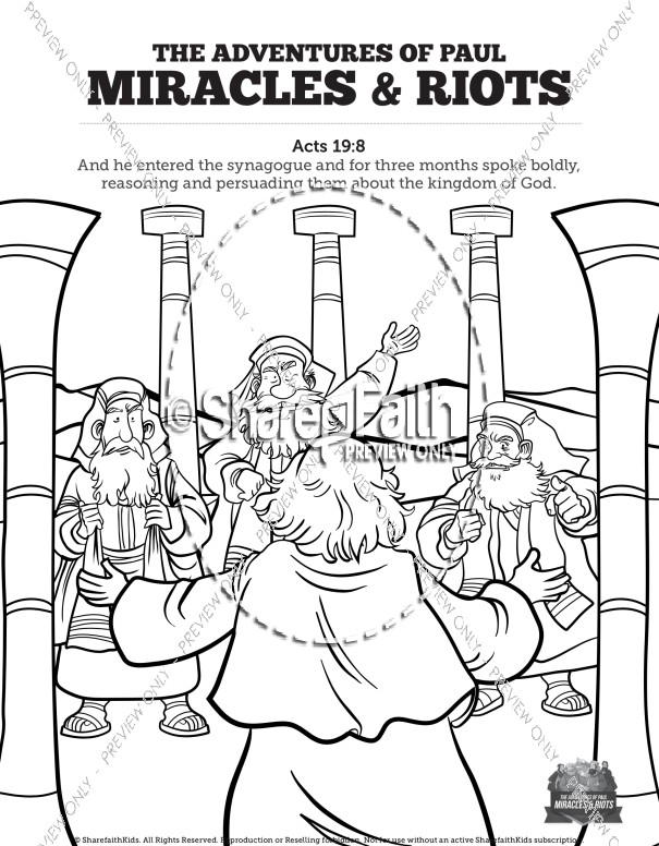 Acts 19 Miracles & Riots Sunday School Coloring Pages
