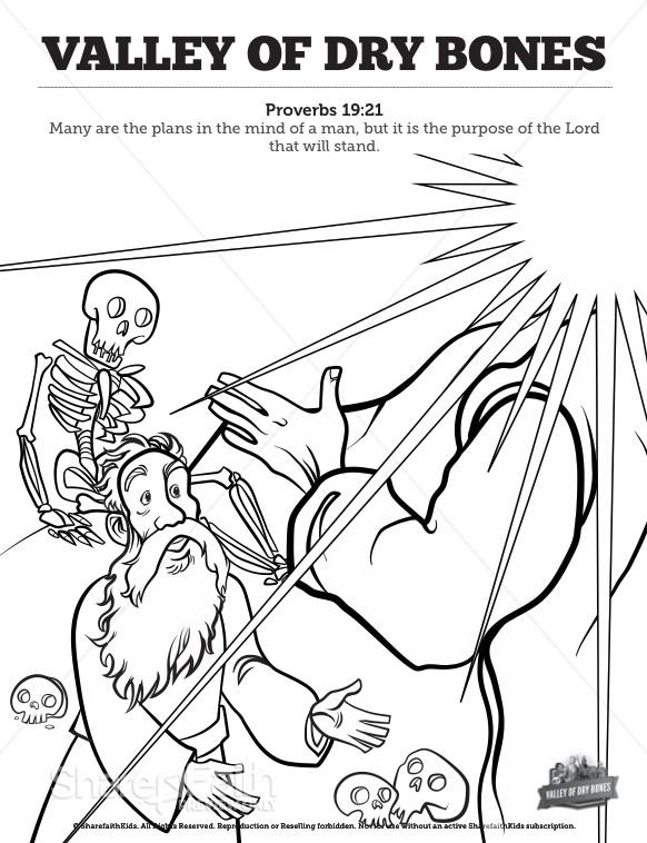 Ezekiel 37 Valley of Dry Bones Sunday School Coloring Pages