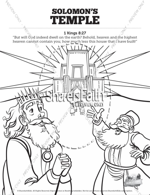 1 Kings 8 Solomon's Temple Sunday School Coloring Pages