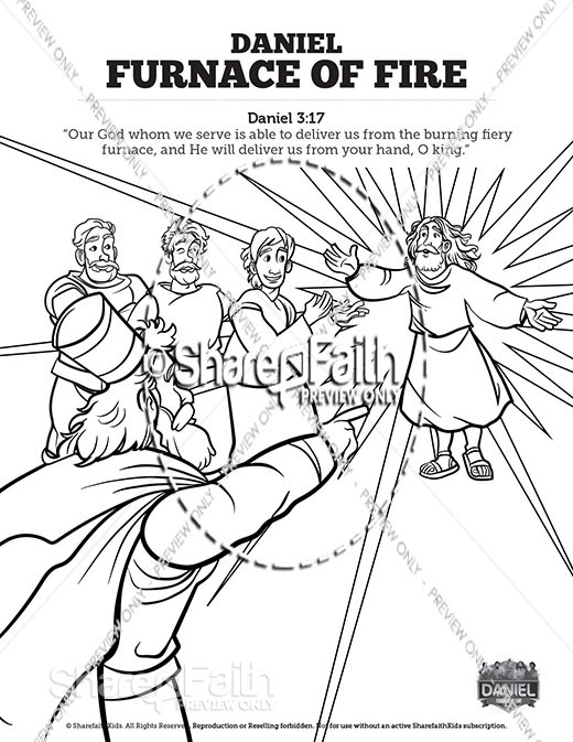 Daniel 3 The Furnace of Fire Sunday School Coloring Pages