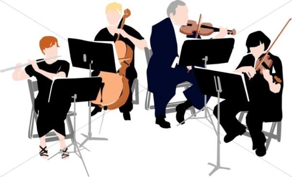 classical quartet in black garb