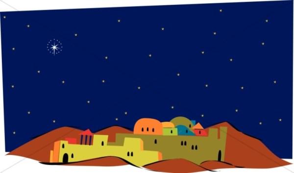 over colorful bethlehem nativity