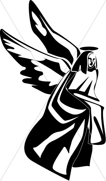Angel Religious Christmas Clip Art Black And White