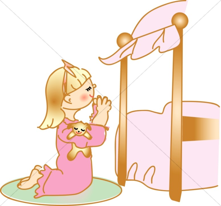 praying girl in nightgown