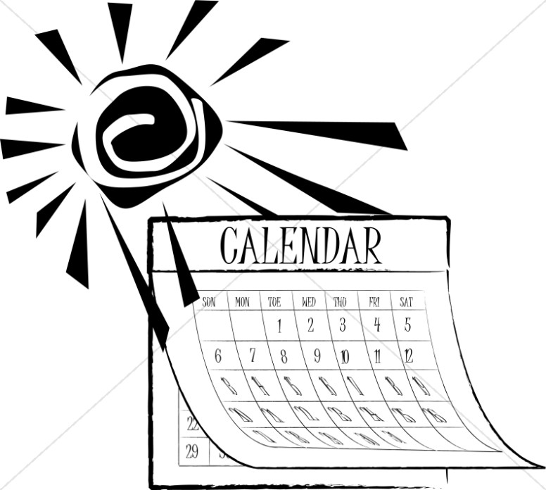 Black and White SUmmer Sun Calendar