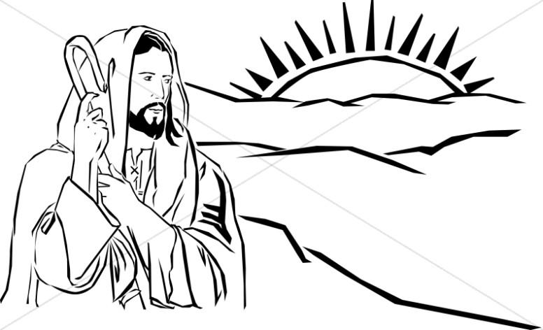 Shepherd Jesus Watching Sun Rise over Hills