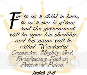 Isaiah 96 With Ornate Crown Nativity Word Art