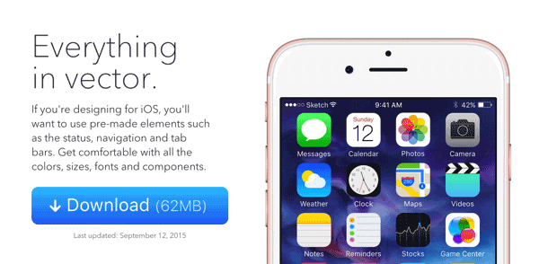 iOS 9 UI KIT SKETCH