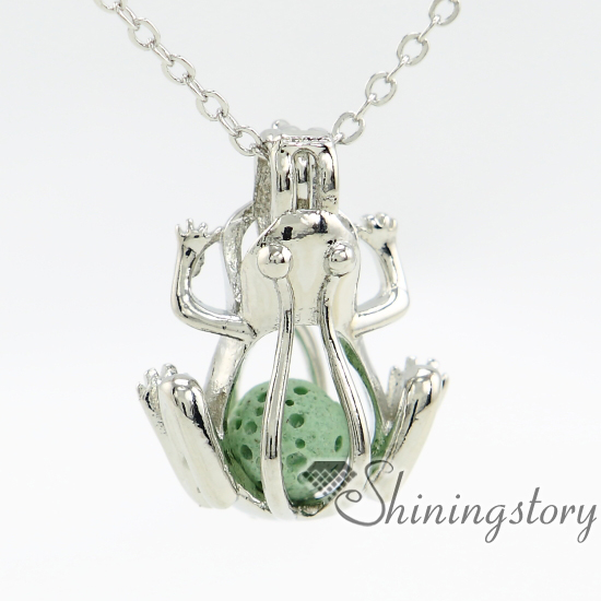frog engraved locket large