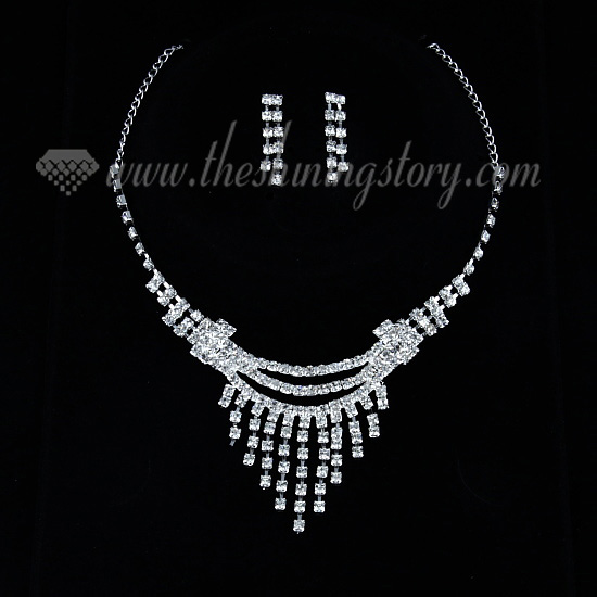 Wedding Bridal Prom Rhinestone Chandelier Necklaces And Earrings Silver
