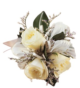 3 White Mini Roses Wristlet in OrlandoFL, Harry's Famous Flowers