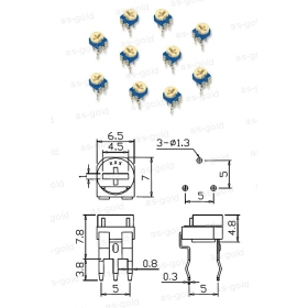 Buy 1000×5K oHm Trimmer Variable Resistors Trim pot 1/4W