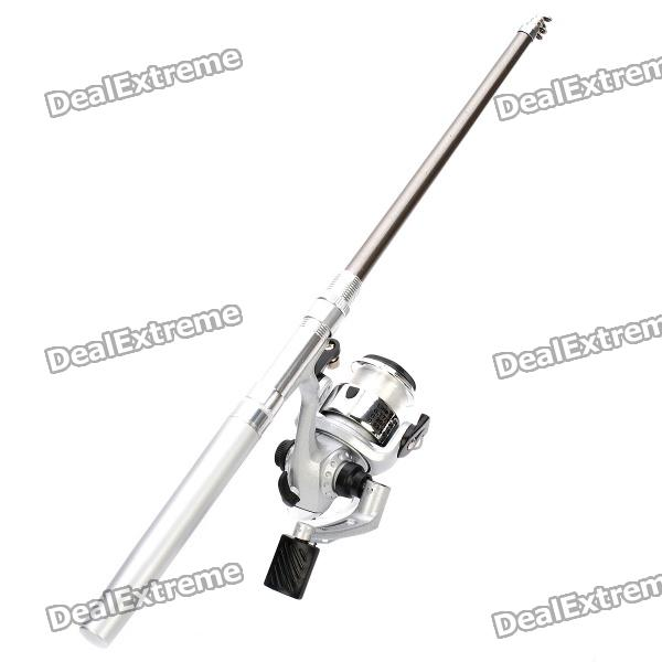 Pocket Pen Style Fishing Rod Reel Kit Silver 1
