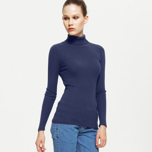 Vancl Sandra Turtleneck Knit Sweater Navy Blue Sku