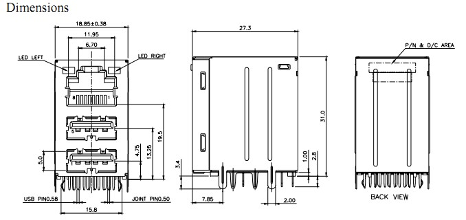 RJ45 USB stack 2 0 w LED 10 Base Magnetic module