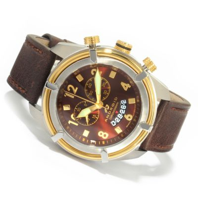 Android men 039 s brown sunray naval 2 swiss chronograph leather strap