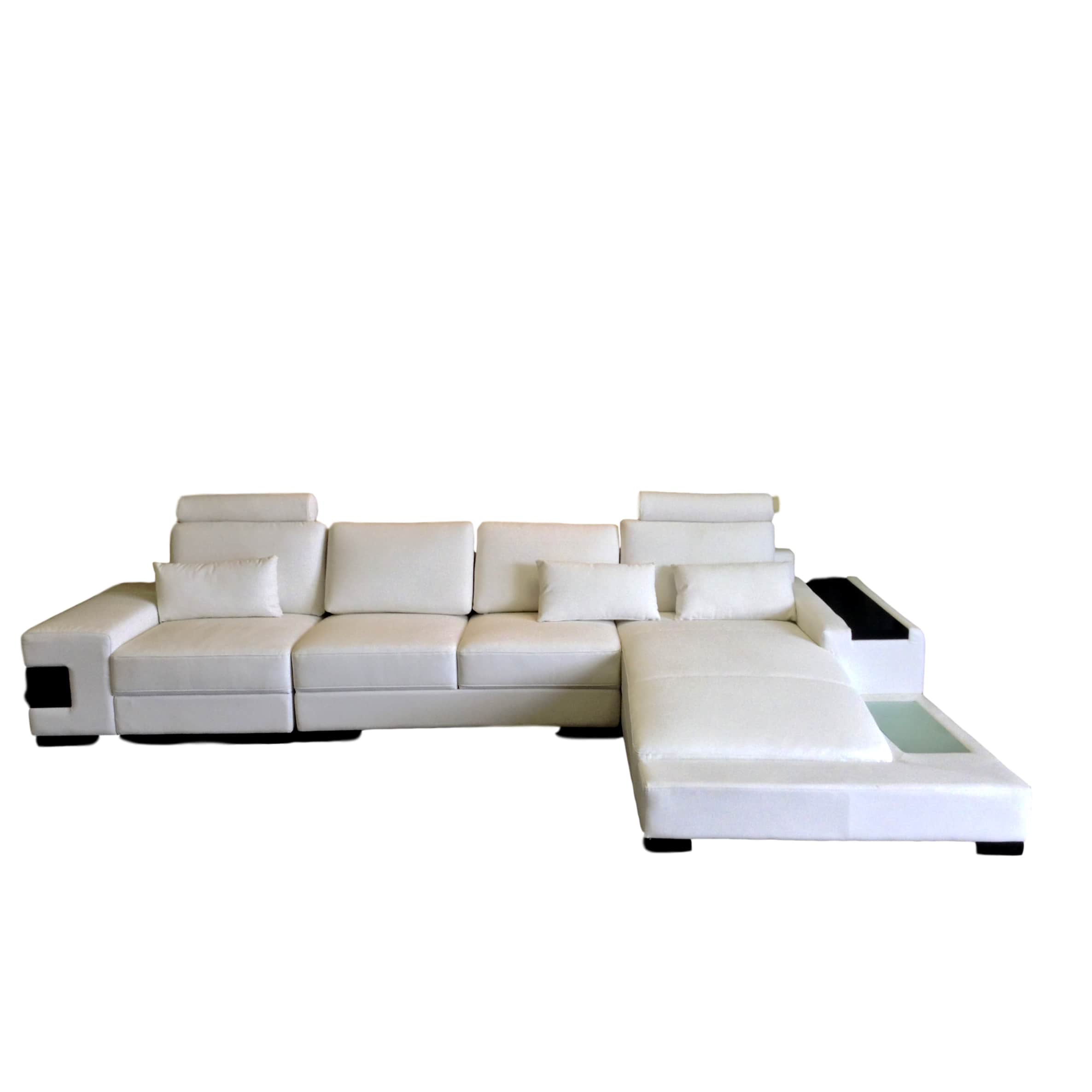 white bonded leather sectional sofa set with light double seat cover diamond modern lights