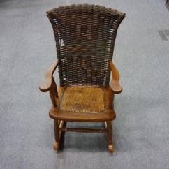 Vintage Wicker Rocking Chair Grey Leather Kid 39s Lincoln Park Emporium