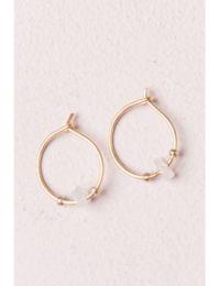 Shoptagr   White Stone Hoop Earrings by Brandy Melville