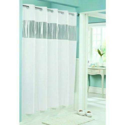 bath vision vinyl shower curtain hookless with clear top snap in liner white home dccbjagdalpur com