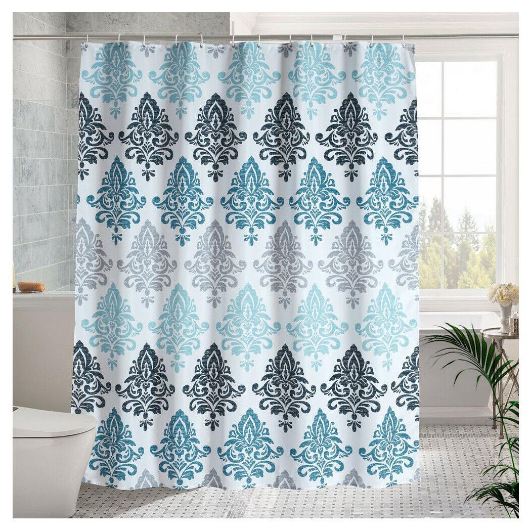 Luxury Fabric Shower Curtain Blue European Pattern 72 X72