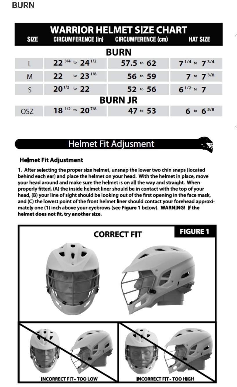 Lacrosse Helmet Size Chart : lacrosse, helmet, chart, Warrior, Black, Adult, Player's, Helmet, Lacrosse, Helmets