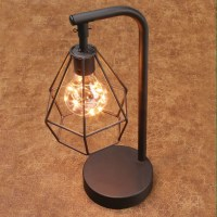 "Table Desk Accent Lamp - 12"" H Metal Vintage Cage LED ..."