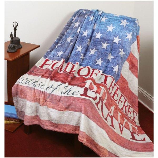 Home Of Free American Flag Fleece Throw Blanket