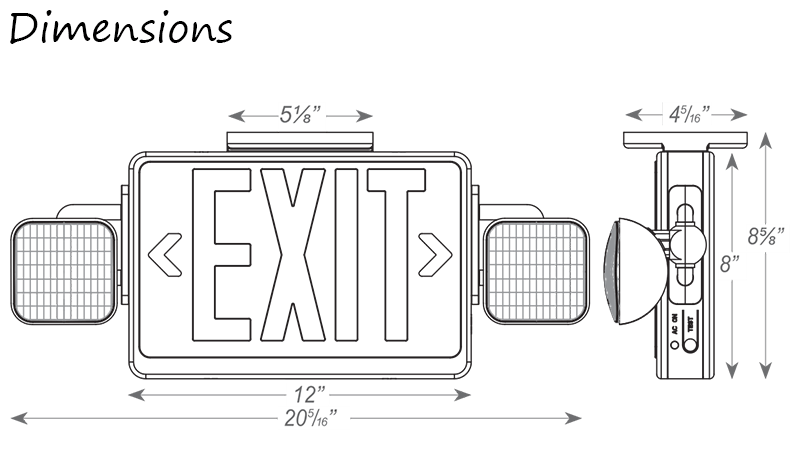 Combo LED Emergency Exit Sign with Adjustable Lamp Heads