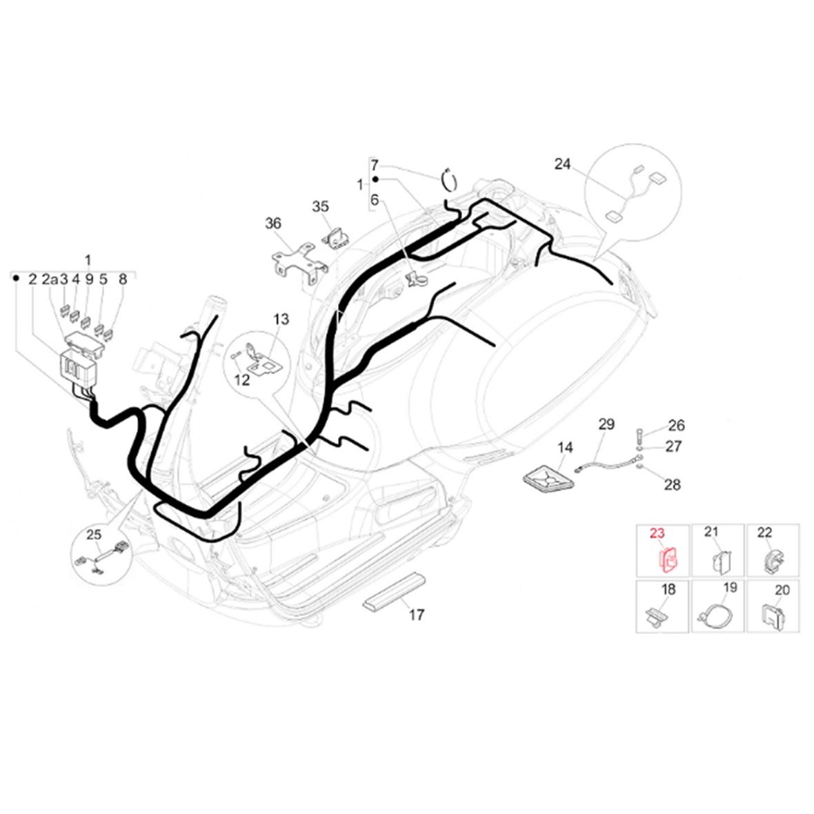 Clip PIAGGIO wiring loom for Vespa GTS/GTS Super/GTV/946