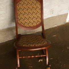 Antique Folding Rocking Chair Wood Outdoor Side Chairs Vintage In Penticton Bc