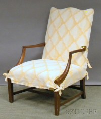 Federal-style Upholstered Mahogany Lolling Chair. | Sale ...