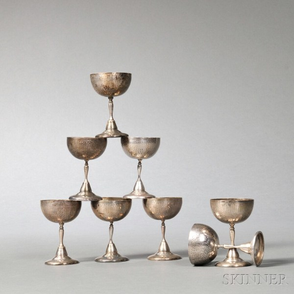 Set Of Eight South American Hammered .900 Silver Goblets